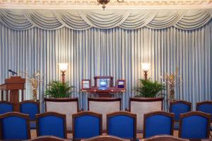 Urn Set Up in Blue Room